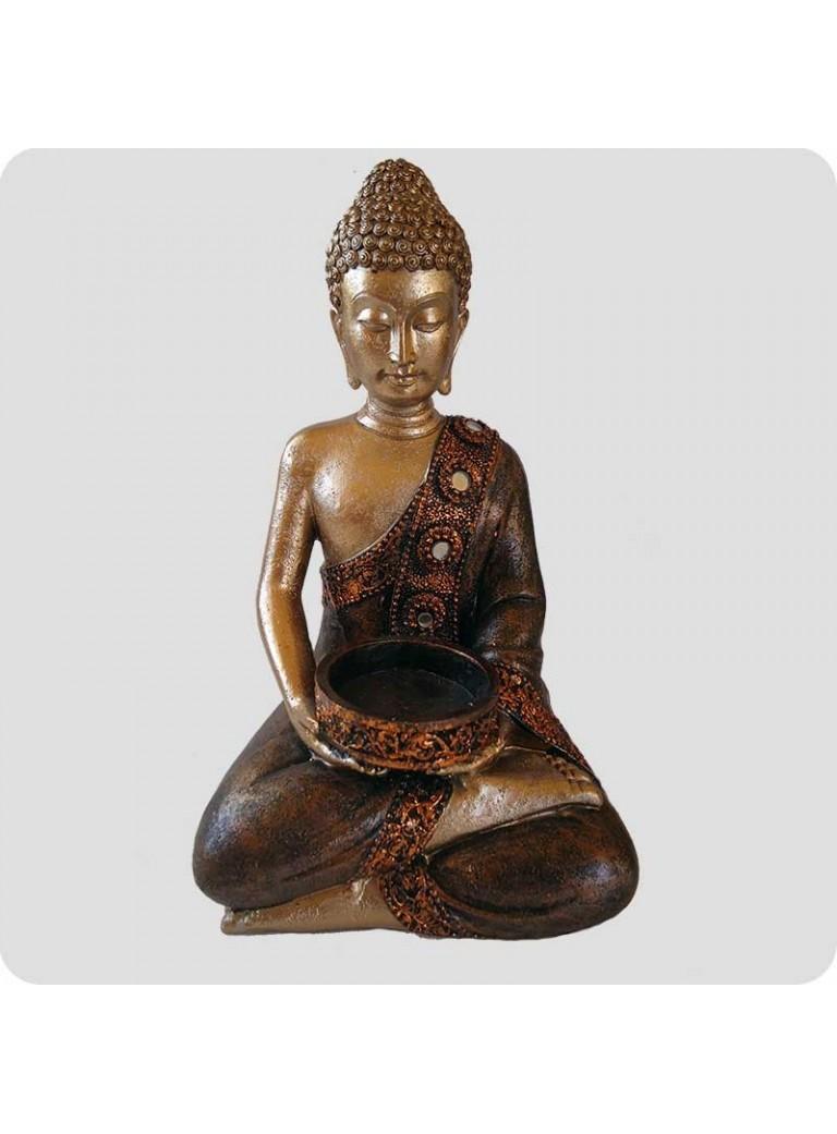 Buddha 18 cm med fyrfadsstage
