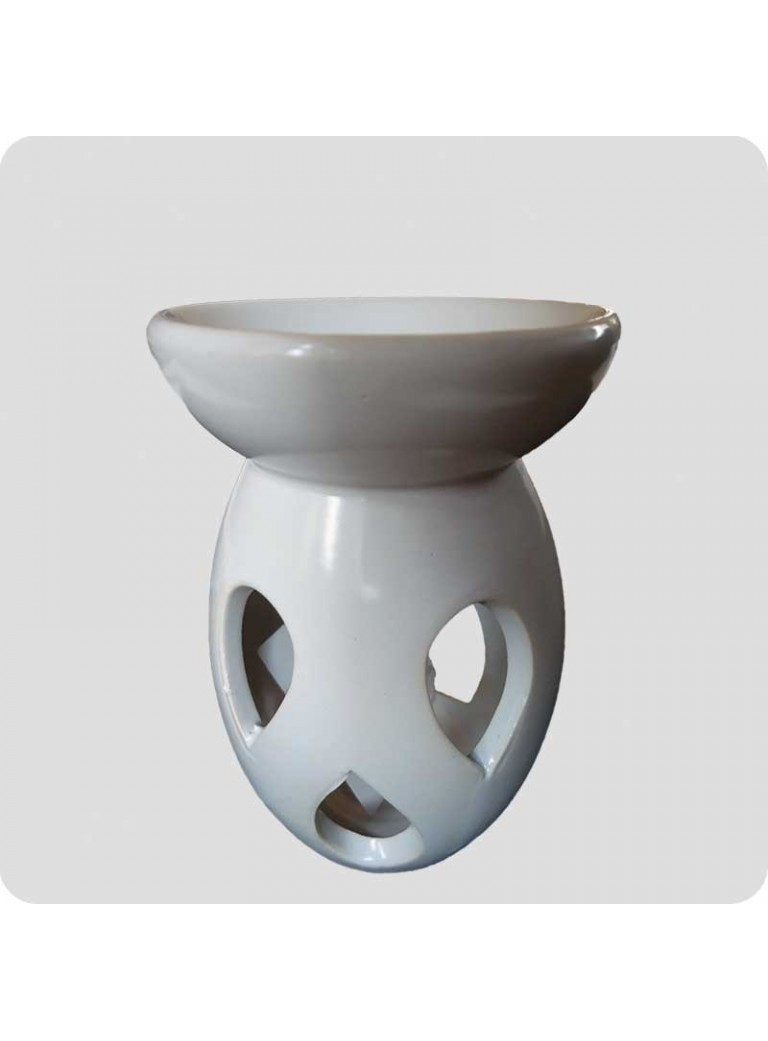 Oil burner 3 drops white ceramics with flaws