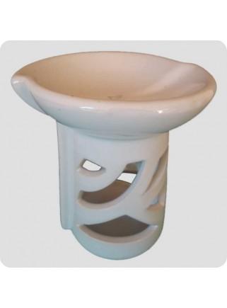 Aromalampe hvid keramik forskudt top