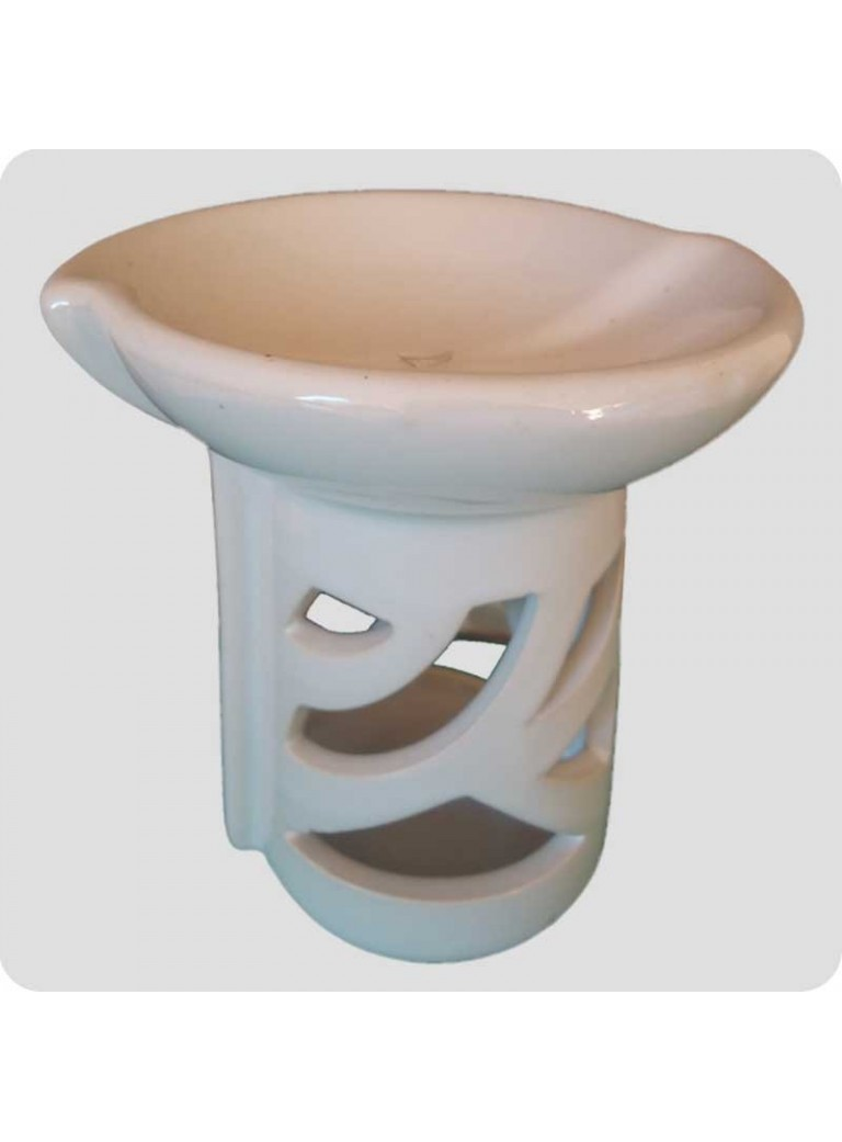 Oil burner white ceramics curved jap