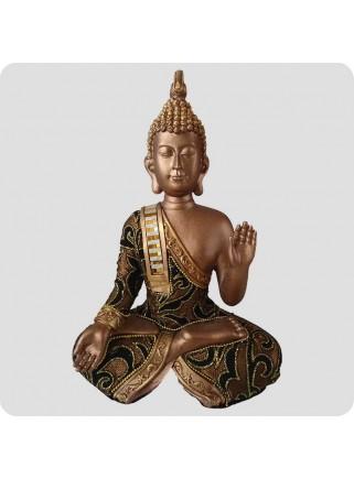 Buddha hånd op 23 cm brun og guld