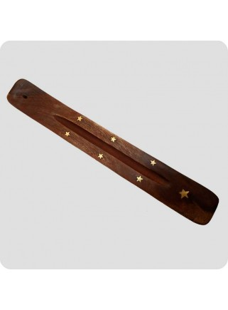 Incenseholder wood 26 cm brass inlayed moon