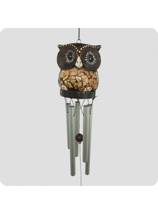 Windchime owl light brown metal