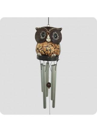 Windchime owl light brown metal