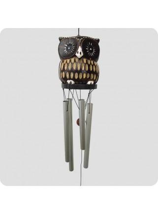 Windchime owl light dark brown with pattern metal