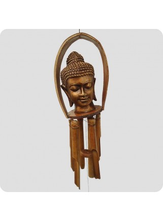 Windchime buddha head bronze colour