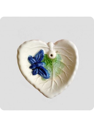 Incenseholder leaf with butterfly mini