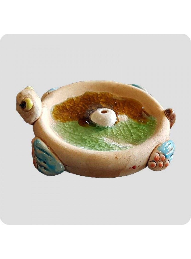Røgelsesholder keramik rund skildpadde
