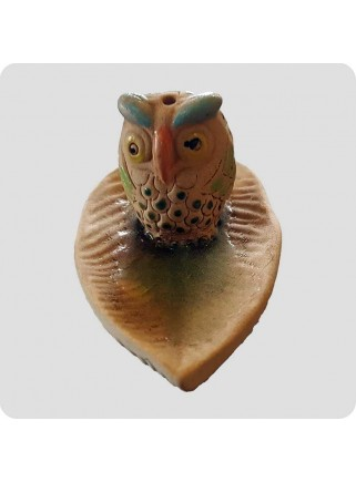 Incenseholder leaf with owl