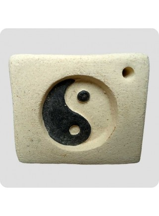 Incense holder ceramic square yin/yang