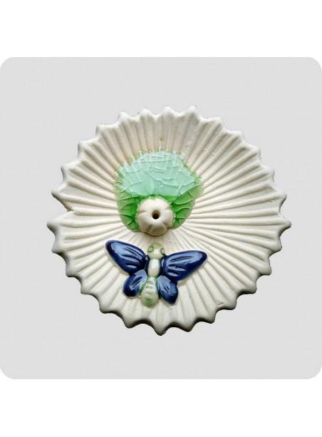 Røgelsesholder rund med blå sommerfugl