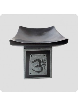 Oil burner black stone Om