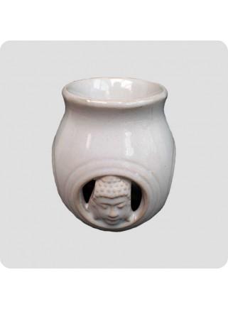 Aromalampe buddha relief hvid