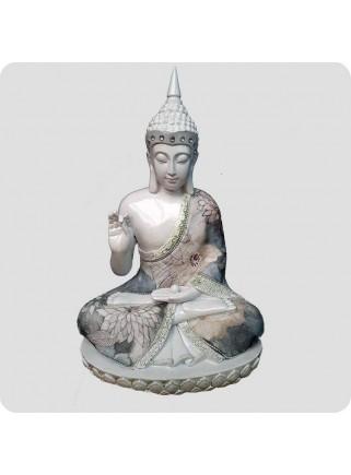 Buddha hvid 29 cm Spirituelt Fokus