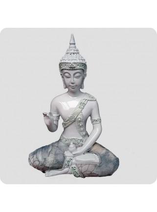 Buddha hvid 18 cm Oplysning