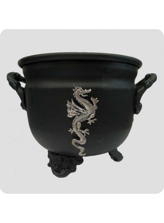 Metal cauldron for natural resin incense dragon