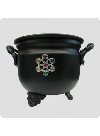 Metal cauldron for natural resin incense chakra