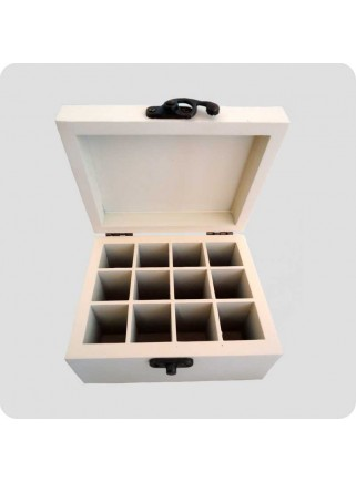 Wooden box peppermint for 12 bottles