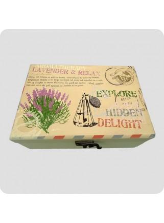 Wooden box lavender for 24 bottles