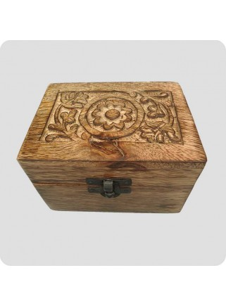 Box mango wood for 6 bottles of oil