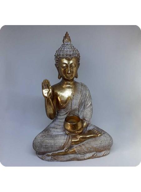 Buddha hvid og guld 33 cm med tiggerskål