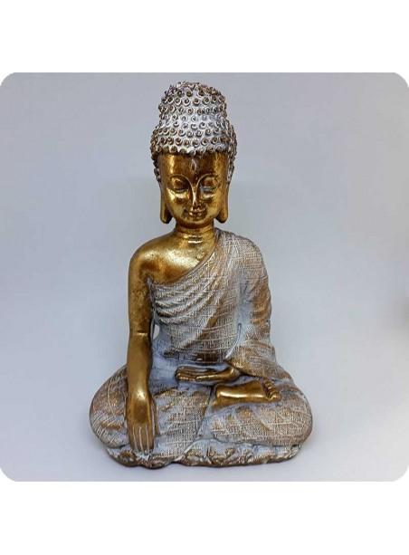 Buddha hvid og guld 21 cm Oplysning