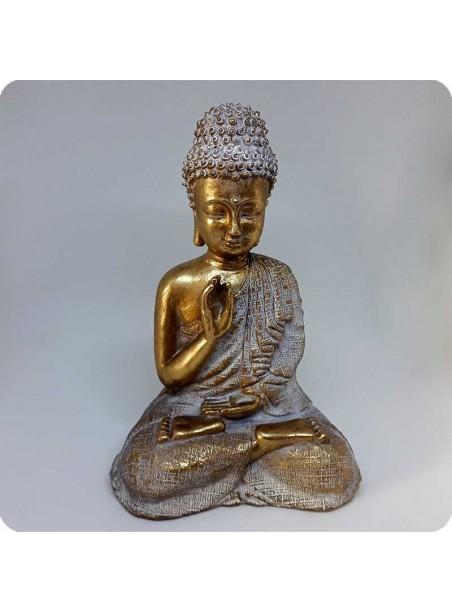 Buddha hvid og guld 23 cm Sindsro