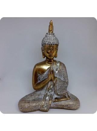 Buddha hvid og guld 28 cm lotus