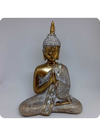 Buddha white and gold 28 cm lotus