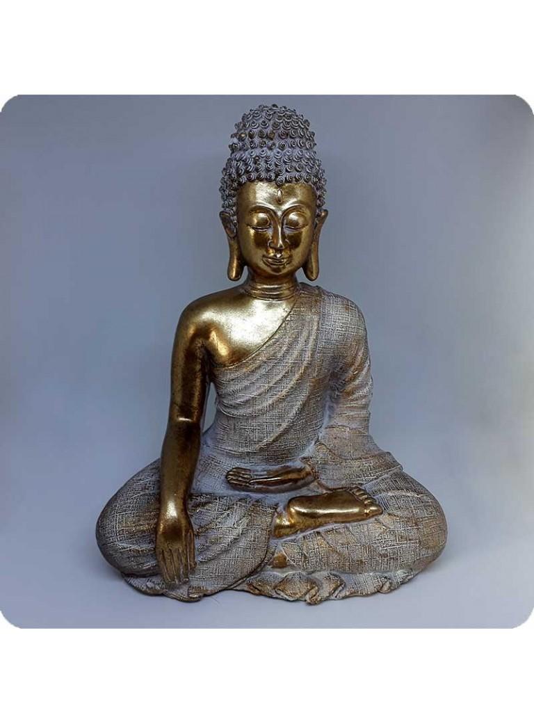 Buddha hvid og guld 29 cm Fred