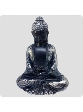 Buddha sort og sølv 19 cm Fred