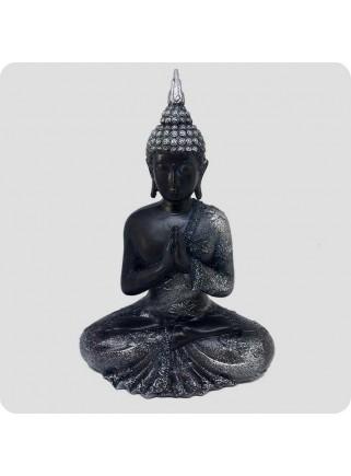 Buddha sort og sølv 23 cm med Oplysning - beder