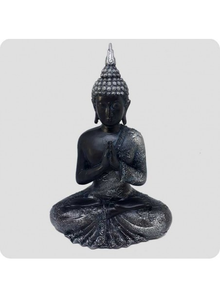 Buddha sort og sølv 23 cm Oplysning - beder
