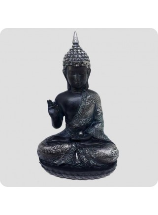 Buddha black and silver 29 cm Enlightenment holding ball
