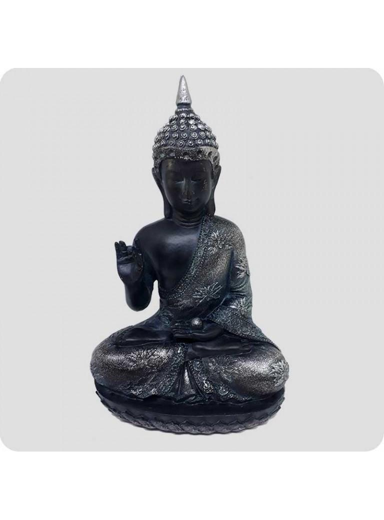Buddha sort og sølv 23 cm Oplysning - holder kugle