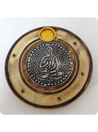Røgelsesholder rund med Buddha