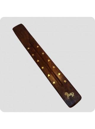 Incenseholder wood 26 cm brass inlayed unicorn
