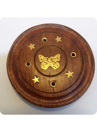 Incenseholder wood round with butterfly