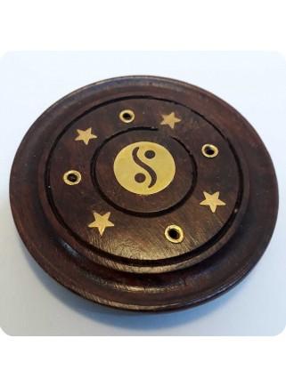 Røgelsesholder træ rund med yin/yang
