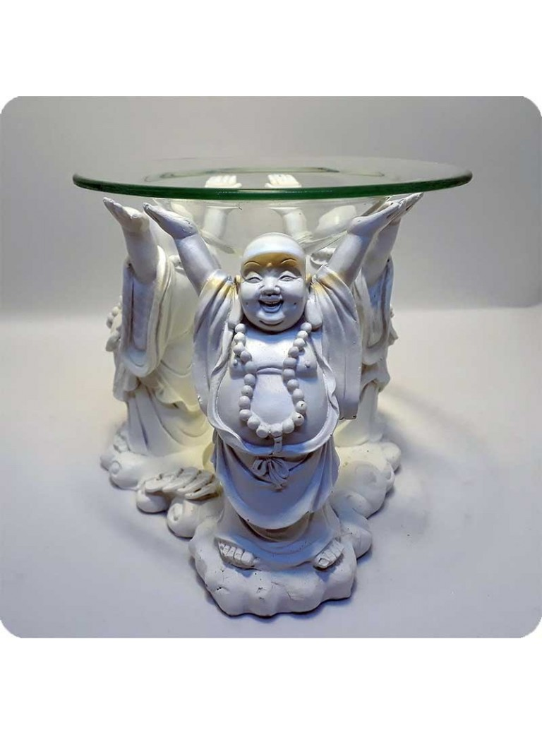 Aromalampe hvid 3 leende buddha'er