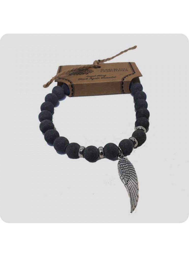 Armbånd - sort agat med englevinge