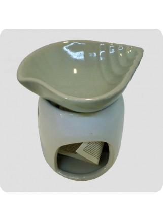 Aromalampe grå og hvid med musling