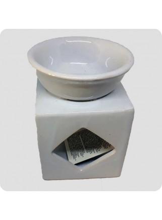 Aromalampe hvid firkantet med udskæringer