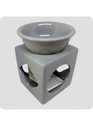 Aromalampe grå firkantet med udskæringer
