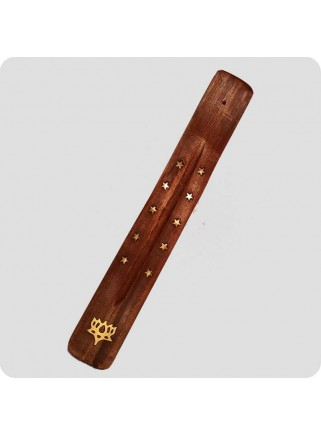 Incenseholder wood 26 cm brass inlayed tree of life
