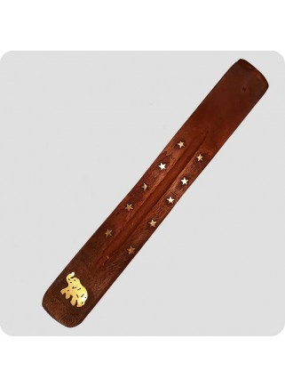 Incenseholder wood 26 cm brass inlayed elephant