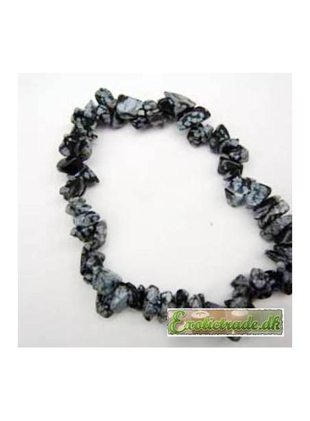 Gemstone chip bracelet - snowflake obsidian