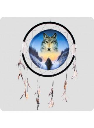 Dreamcatcher 33 cm wolf and wolf spirit