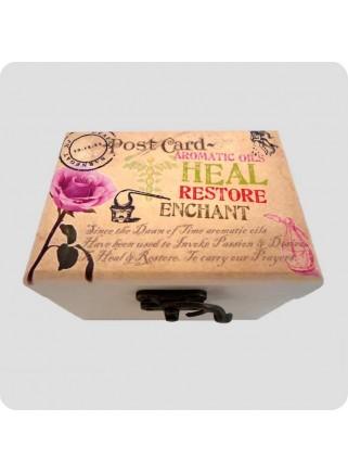 Wooden box rose for 6 bottles