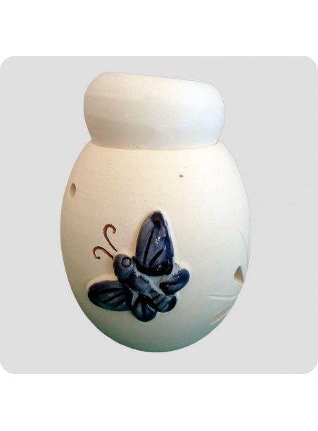 Aromalampe hvid keramik med sommerfugl